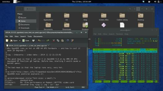 Here is my Fedora 20 desktop running Files (aka Nautilus), Gedit and GNOME Terminal with the Adiwata Global Dark theme, which is easy to invoke with the GNOME Tweak Tool.