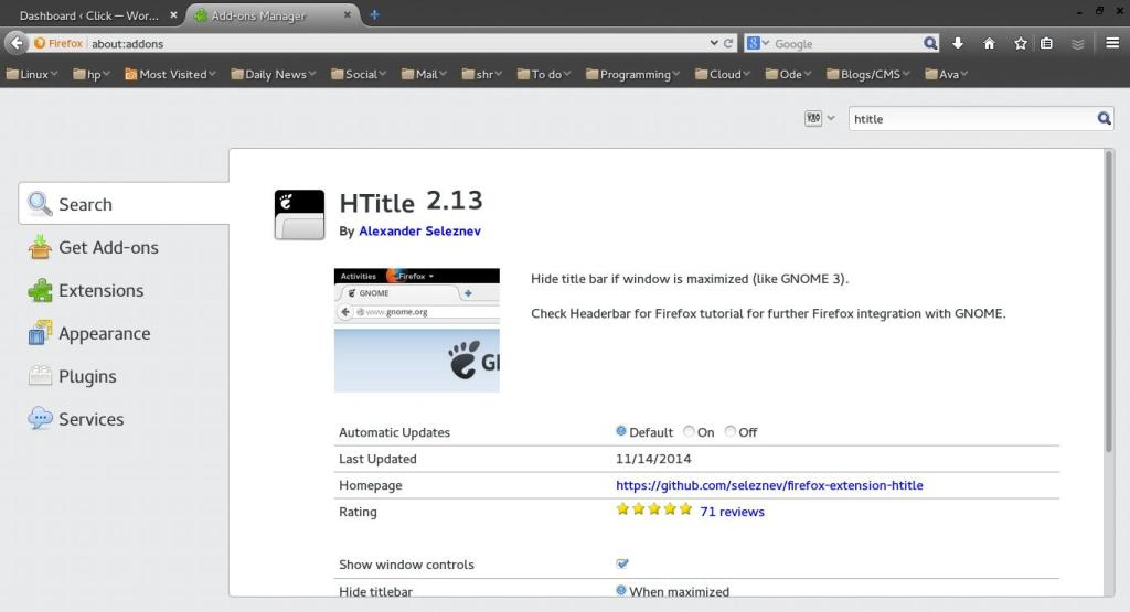 The HTitle Extension for Firefox by Alexander Seleznev makes the top title bar go away. It's great to make Firefox look more integrated with GNOME 3.