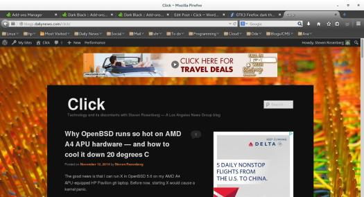 Firefox with the Dark Black theme. Note that the title bar stays in the light Adiwata theme from GNOME 3.